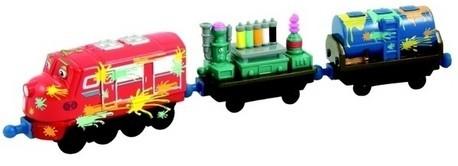 Детская игрушка Chuggington Паровозик Вилсон с вагонами для покраски