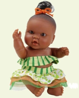 Детская игрушка Paola Reina Младенец девочка мулатка в зеленом