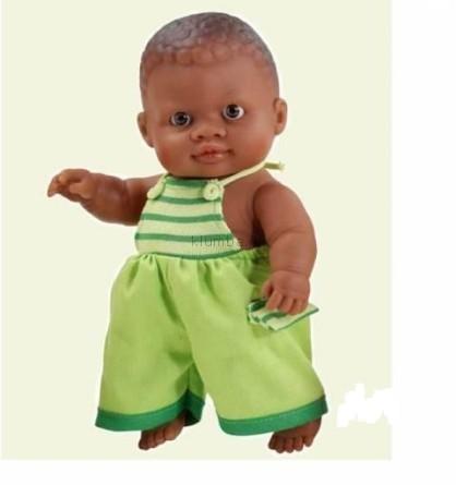 Детская игрушка Paola Reina Младенец мальчик мулат в зеленом