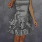 S/42-44 из Сша новое стильное серое серебряное женское коктельное платье