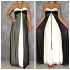 S-M/44-46 размер из США новое шикарное длинное выпускное вечернее черное белое платье