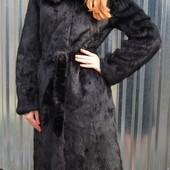 Новая Норковая цельная шуба-халат с капюшоном 90 и 110см.