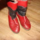 Сапоги кожаные теплые демисезонные для двора, размер 22,5 или 34, стелька 22 см