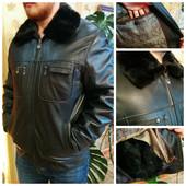Куртка демисезон/зима кожа с норкой