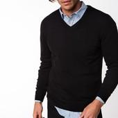 черный мужской свитер De Facto с V-образной горловиной