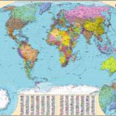 Политическая карта Мира Ламинированные Новые 2017 год