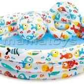 Детский надувной бассейн + круг + мяч. Intex 59469  132*28см,