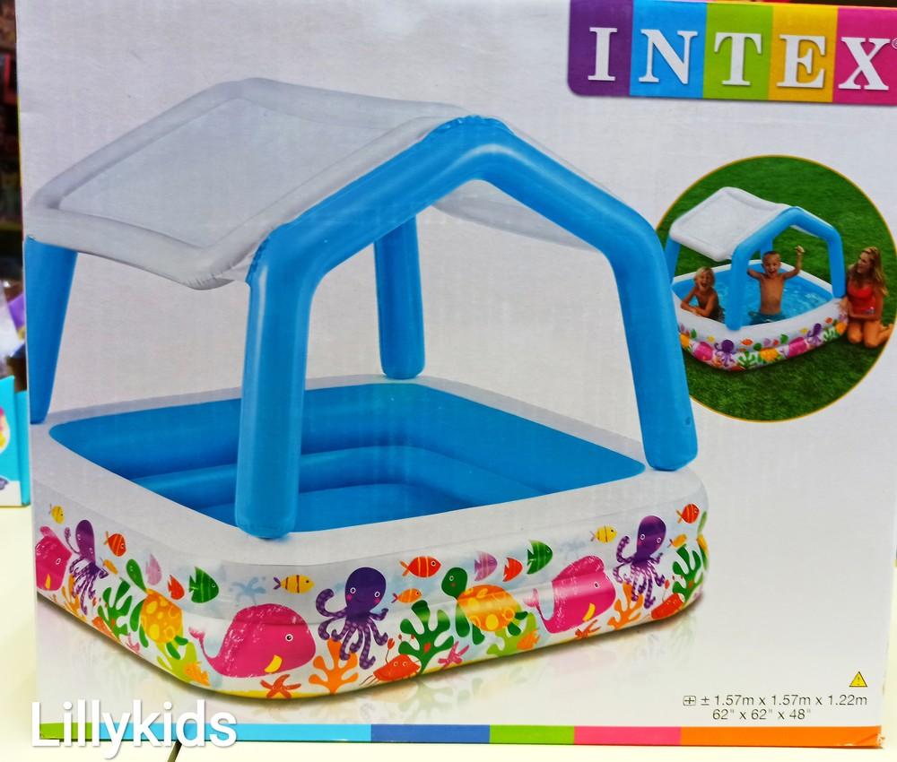 Детский надувной бассейн intex 57470 со съемной крышей фото №1