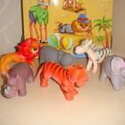 Дикие животные фигурки мягкая резина тигр лев зебра слон бегемот носорог