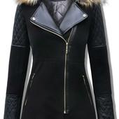 демисезонное женское пальто с эко-кожаными рукавами