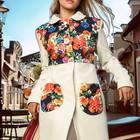 Пальто кашемировое с цветочными вставками, длинное