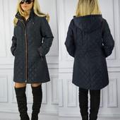 Женское стеганое синие весенние пальто больших размеров