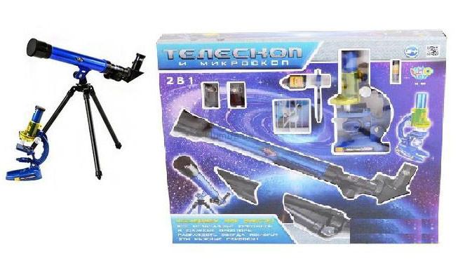 Телескоп и микроскоп. набор детский 2 в 1. фото №1