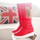 Зимние сапоги фирмы Hermes красные на платформе