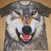 Крутая 3D футболка с живым волком