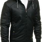 Мужская  куртка из эко-кожи на меховой подкладке