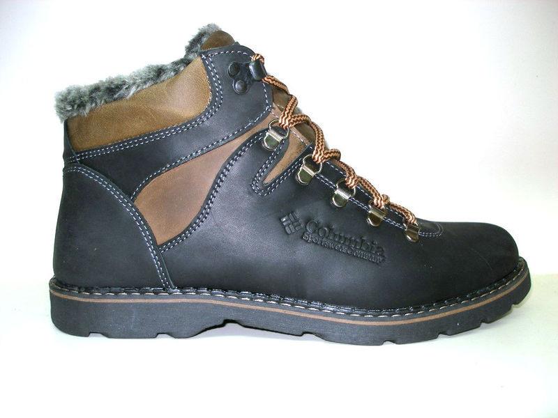 Ботинки columbia натур. кожа на меху, черный и оливк, р 41-45, код ka-col3 фото №5