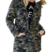 Женская зимняя куртка парка в стиле милитари на меховой подкладке