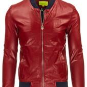 Мужская демисезонная красная кожаная куртка,куртка из эко-кожи