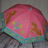 Зонтик зонт детский трость с яркими картинками Лошадки