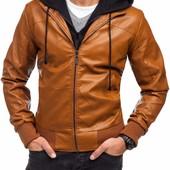Кожаная мужская куртка коричневая