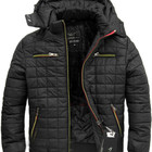 Мужская зимняя стеганная куртка с эко-кожей