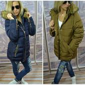 Зимняя теплая стеганная куртка пуховик