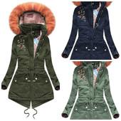 Женская зимняя куртка парка с вишивкой
