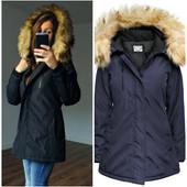 Женская зимняя асимметричная куртка в стиле парка