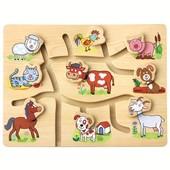Игра - Подбери головы животным деревянная досточка