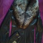 Кожаная куртка с мехом чернобурки.Цену снизила