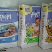 Подгузники  Happy памперсы (Хеппи). Все размеры в наличии 2,3,4,4+5.