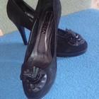 Женские черные туфли замшевые, р.39-40