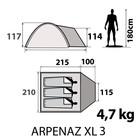 Палатка 3-х местная arpenaz 3 XL.