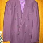 Пиджак шерстяной,р.54,тёмно-фиолетовый,двубортный.
