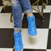 Ботиночки сникерсы голубые сетка Д392