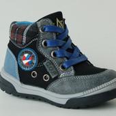 Солнце арт.PT6706-А black-blue.шнурки Демисезонные ботинки для мальчиков.