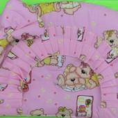 Постельный комплект в детскую кроватку розовое Мишка c часиками  с балдахином 8 эл