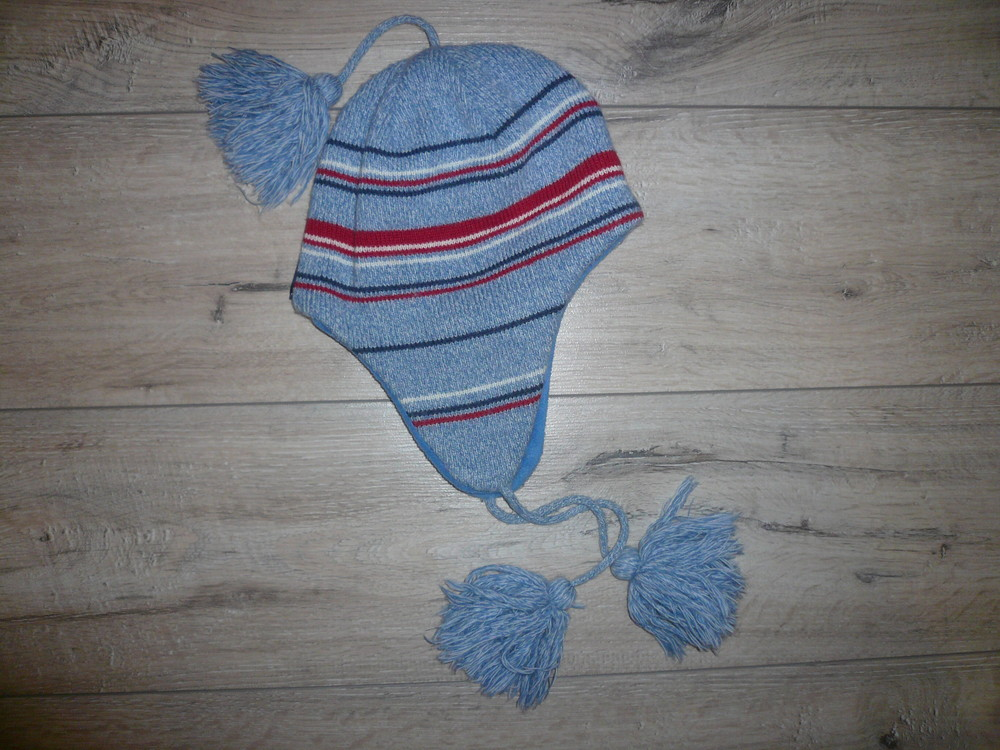 Зимняя шапка на флисе 4-6 лет 50 -52 см помпон завязки фото №1