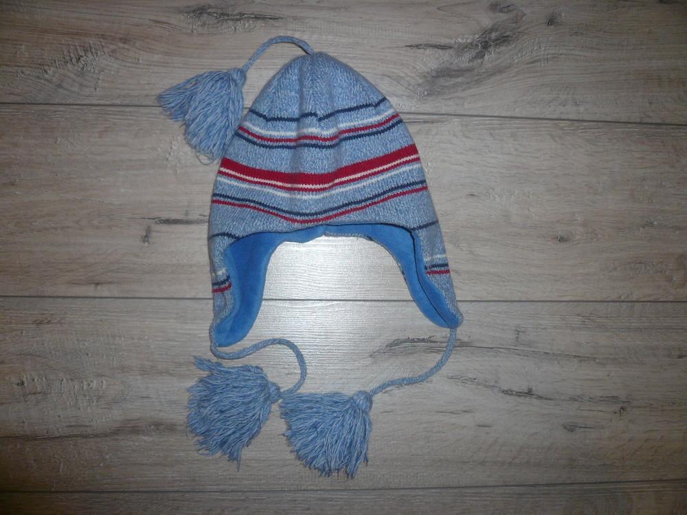 Зимняя шапка на флисе 4-6 лет 50 -52 см помпон завязки фото №2