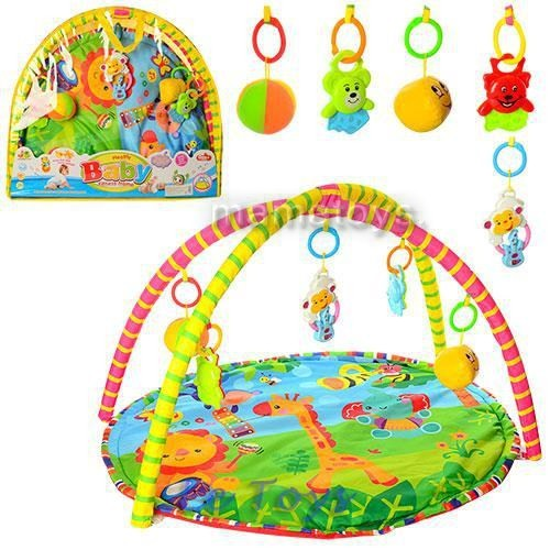 Коврик для малышей 518-17, с мягкими и пластм. погремушками 80х64 см, в сумке 61х56х55,4 см фото №1
