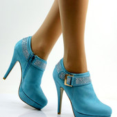 Ботиночки голубые на каблуке Д377 р.38