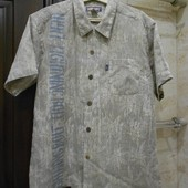 Льняная рубашка с коротким рукавом. Размер M