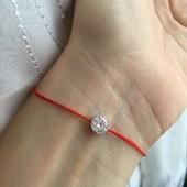 Красная нить серебряная браслет Оберег с кристаллом 4039