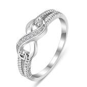 Распродажа кольцо бесконечность с цирконами 925 проба родированное серебро
