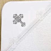 Махровая крыжма с вышивкой крестика Серебро № 7