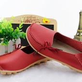 Туфли женские красные натуральная кожа Т499