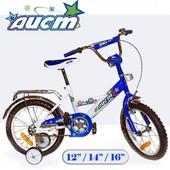 Велосипед 2-х колес 12'' 101202 СИН,с звонком,зеркалами,задним и руч.торм
