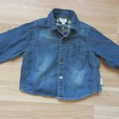Фирменная легкая джинсовая рубашечка малышику 0-3 месяца сотояние отличное