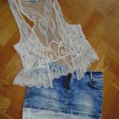 Юбка джинсовая гипюр спідниця джинсова гіпюр